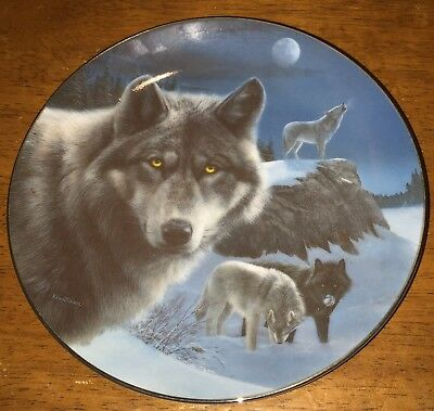 Eddie Lepage NIGHT WATCH Spirit of the Wilderness Collector Plate Wolves Blue