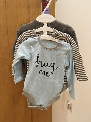 Pack Of 3 Long Sleeved Baby Vests Bodysuits Age 3-6 Nutmeg