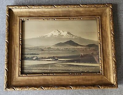 Antique B/W photo, Mt. Shasta early 1900s original frame by E.B. Courvoisier