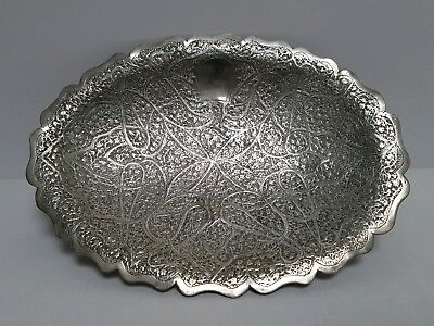 White Metal Small Persian Tray Dish Plate
