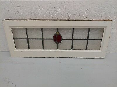 Antique Reclaimed Vintage Stained Glass Leaded Window Panel - Red Flower Design