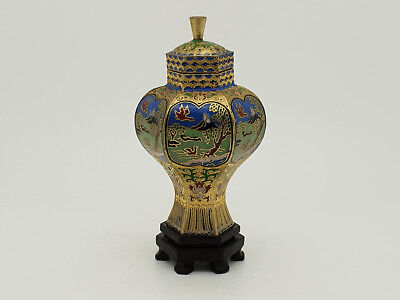 Chinese Cloisonne Hexagonal  Jar / Lidded Vase On Stand