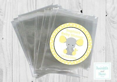 12 x Yellow Elephant Neutral Baby shower Bags & Personalised Stickers Favour Kit