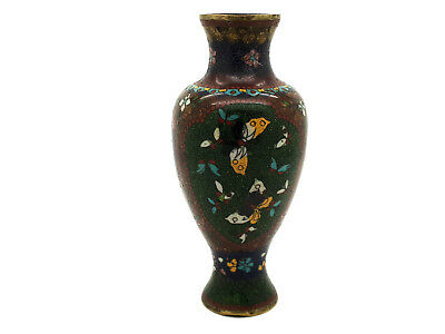 Small Late 19thC Antique Japanese Cloisonne Vase Flowers W/Gold Fleck Accents #2