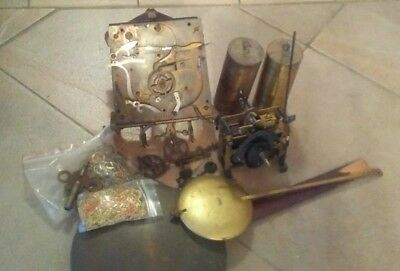 Vintage Antique Lot Of Brass Clock Movements Parts Gears Pendulum and weights