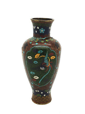 Small Late 19thC Antique Japanese Cloisonne Vase Flowers W/Gold Fleck Accents