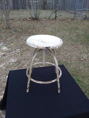 "Vintage Metal Industrial Stool with Swivel Seat 18"" - 26"""