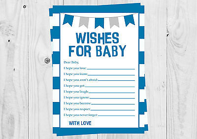 Baby Shower Wishes For Baby Cards Boy Blue Stripe Bunting It S A