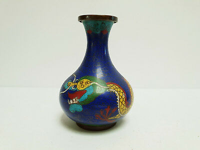 Beautiful Antique Chinese Blue Cloisonne Vase With 5 Clawed Dragon