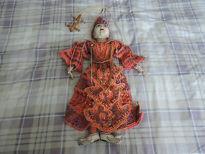 Indonesian Burmese Thai Oriental Carved Wooden String Marionette Puppet Ref12