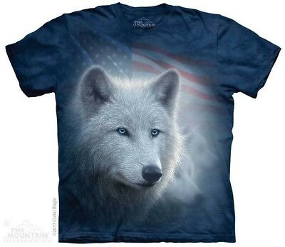8a315734fd PATRIOTIC WHITE WOLF T-Shirt by The Mountain. USA American Flag Wolves  S-5XL NEW