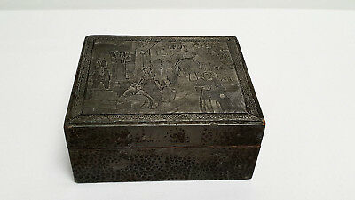 Vintage Arts & Crafts Pewter Topped Wooden Trinket Box