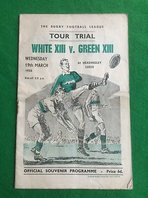 Rugby league programme Leeds Tour Trial 19th March 1958