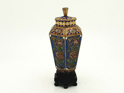Chinese Cloisonne Hexagonal  Jar / Lidded Vase On Stand #3