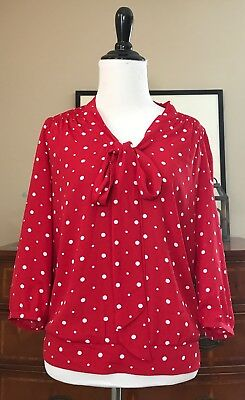 The Limited Women's Red Polka Dot V-Neck Pussy Bow Blouse - Size XS