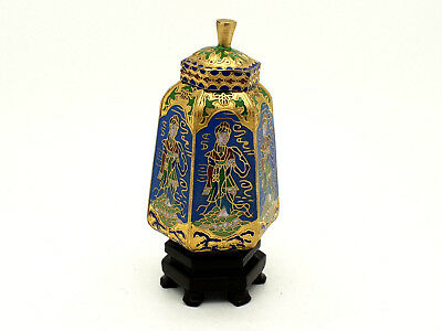 Chinese Cloisonne Hexagonal  Jar / Lidded Vase On Stand #2