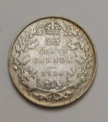 ** King Georges V  ** 25 Cents 1936 **