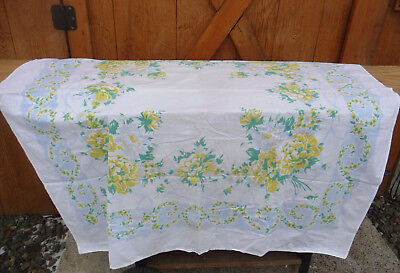 Vintage Floral Tablecloth Blue & Yellow Flowers 46x50