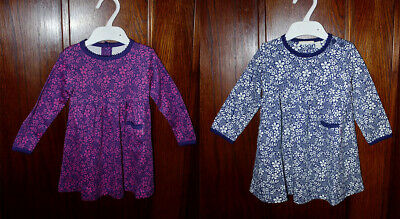 Ex Chainstore Girls Floral Classic Dress in Navy & Purple 6 months to 5 years