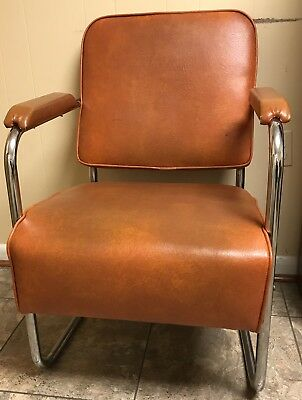Mid Century Modern Orange & Chrome Chair With Arms Retro Vintage MUST SELL ASAP!