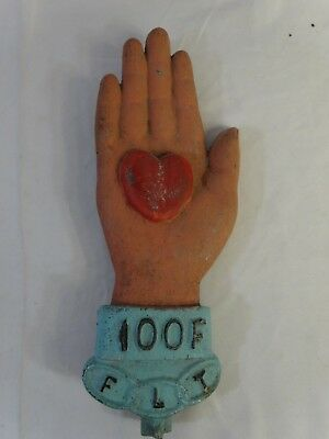 Antique FOLK Amish Cast Metal HAND HOLDING HEART Sign DAWSON, Rockford ILL 1901