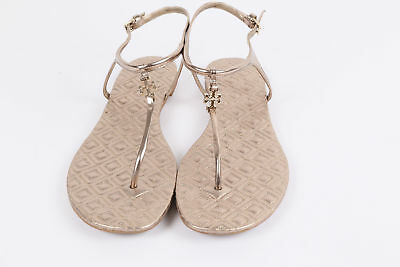 cdc70966f19af TORY BURCH Marion Gold Leatrher Quilted T-Strap Sandals Thongs Size 9.5 M