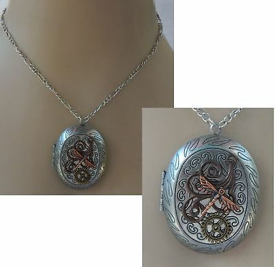 Steampunk Necklace Dragonfly Locket Pendant Jewelry Handmade NEW Cosplay Chain