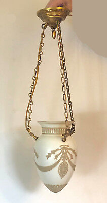 Vintage Neoclassical Revival hanging elect. light Cameo style glass EX!! working