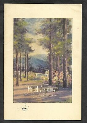 ~1926 HOTEL ASPINWALL LENOX MA Resort Photos L. A. TWOROGER Manager Map BROCHURE