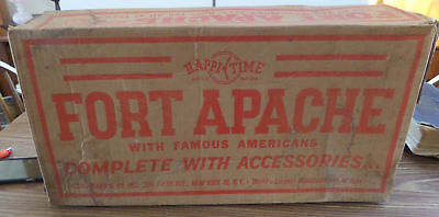 Vintage 1950s MARX Happi Time FORT APACHE Playset Box & Partial Accessories 3630