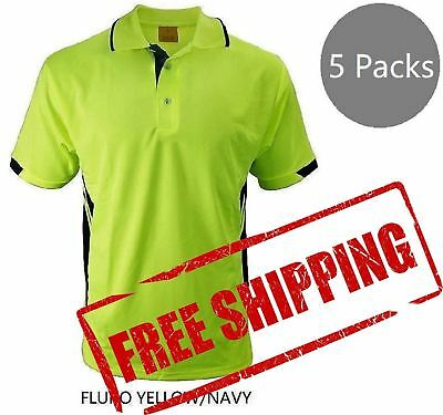 Hi-Vis Safety Polo Shirt Lapel Work Wear For Construction Builder PPE Yellow