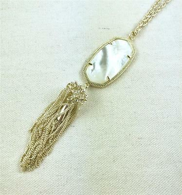 Kendra Scott Rayne Ivory Mother of Pearl Gold Tassel Necklace