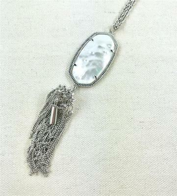 Kendra Scott Rayne Ivory Mother of Pearl Silver Tassel Necklace