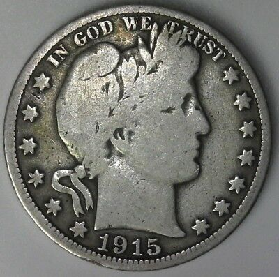 1915-S Barber Half Dollar 50C 90% Raw US Silver High Resolution Photos!