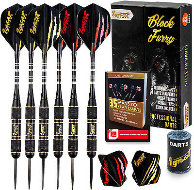 Ignat Games Steel Tip Darts - Professional Darts Set with Aluminum Shafts and 2