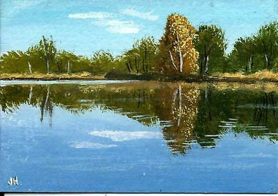 "aceo original acrylic painting ""Reflections in Blue Water""  by J. Hutson"
