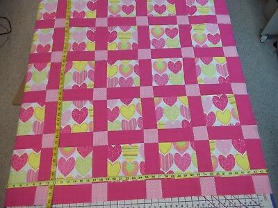 Handmade Unfinished Quilt Top Hearts With Pink Sashing Approx.44x44(15)
