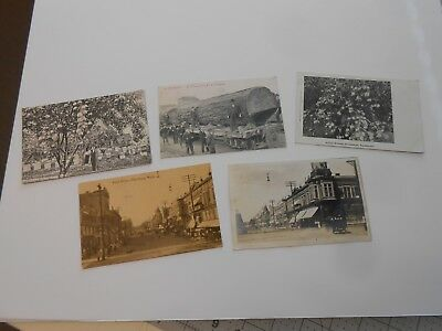 5 Antique Postcards Ellensburg Washington Logging Train - Street Scenes - 1 RPPC