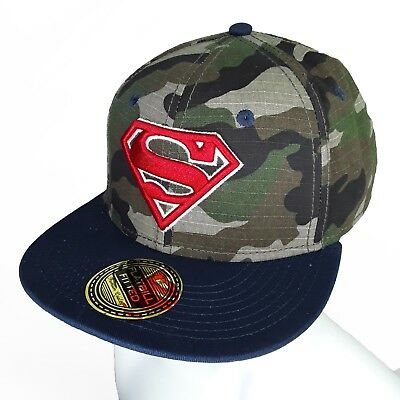 2828e38d2f5 Green Camouflage Superman Logo Hat Flatbill Fitted Style Marvel Embroidered  L XL