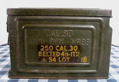 Cal.30 Belted 4B-1TR Ammo Box U.S.? No Military Ordnance Bomb WWII Type NR33