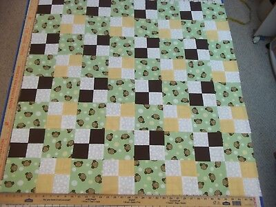 Handmade Unfinished Quilt Top Monkeys With Squares Approx. 37 1/2 x 37 1/2 (14)