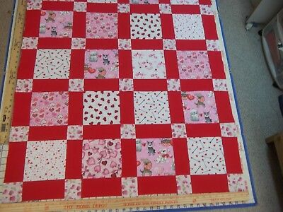 Handmade Unfinished Quilt Top Valentine's With Red Sashing Approx.36x44(18)