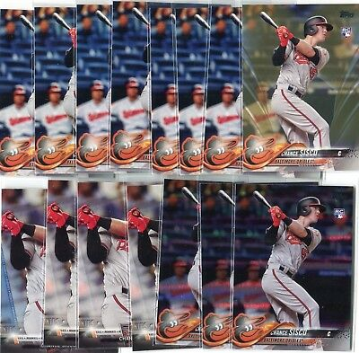 (14) 2018 Topps Series 1 Chance Sisco Rookie RC - 1 Gold, 3 Rainbow Foil, Blue!!