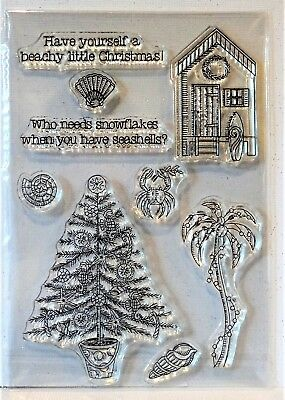 BEACHY LITTLE CHRISTMAS Stamps Tropical palm tree Nautical
