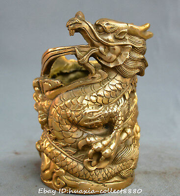 Old China Fengshui Bronze Lifelike Peacock Vase Pot Statue sl