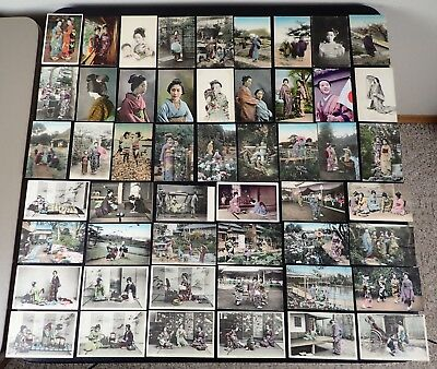 (51) Vintage Japan Postcards Japanese Women Hand-Tinted Every Day Home Life