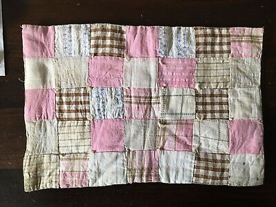 Antique Handmade Doll or Mat Quilt  Early Fabrics Hand Stitched