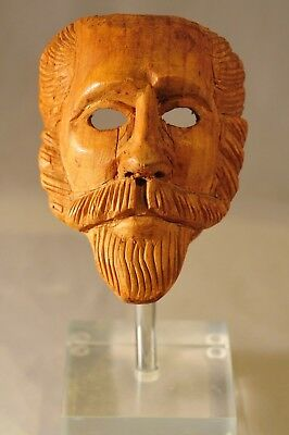 18- 19Th Cent Spanish Colonial Carved Wooden Santos Man Mask