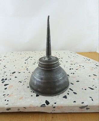 Vintage Metal REGA Flat Bottomed Oil Can Old Antique Dripper Tin Oiler