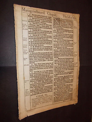 1611 King James Bible Leaf-Folio- Eve is Created-The Serpent + Eve-Cain and Abel